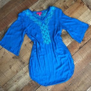 Lilly Pulitzer Blue Embroidered Tunic